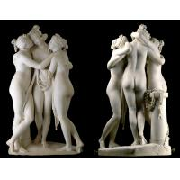 Buy cheap Stone hand carved statue Three graces lady marble sculpture for art gallery,stone carving supplier from wholesalers