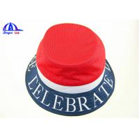 Buy cheap OEM Polyester Mesh Normal Printing Logo Printed Bucket Hats Navy and Red for Women from wholesalers