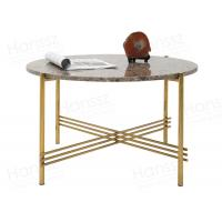 Buy cheap Emperador marble coffee table with stainless steel gold tables top on sale from wholesalers