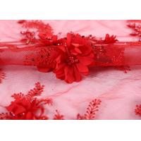 Buy cheap Bangkok Wedding Bride Red Beaded Lace Fabric 100% Polyester Knitted Technics from wholesalers