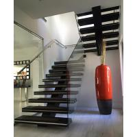 Buy cheap Wood Staircase Design for House Interior Straight Mono Stringer Stairs from wholesalers