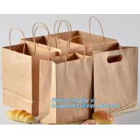 Buy cheap Food Grade Bread Packaging Disposable Kraft Paper Bag,handle Stand up pouch kraft bags zip paper packaging bags for food from wholesalers