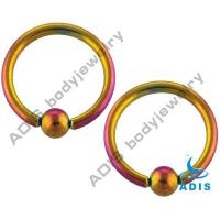 Buy cheap Anodized Rainbow Stainless Steel Ball Closure Ring Captive Bead BCR , Neon Titanium from wholesalers
