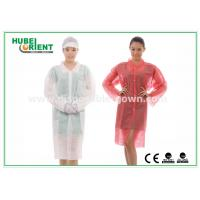 With Shirt Collar Knitted Cuff Disposable Lab Coats Breathable Non woven