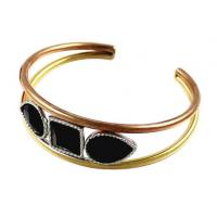 Buy cheap Three Tone Empty Wire Pipe Stainless Steel Bangle Bracelets With Jet Crystal Stone from wholesalers