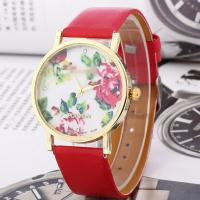 Buy cheap Vogue leather band lady gold flower Geneva watch with all color available from wholesalers