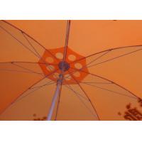 36 Inch Orange Beach Umbrella Round Shaped With Aluminum Umbrella Handle