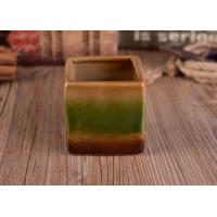 Buy cheap Unique Square Candle Holder Ceramic Home Decoration Ombre Mixed Color Glazed from wholesalers