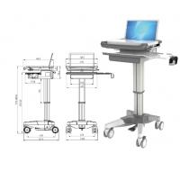 Buy cheap Hospital Notebook Rolling Desktop Computer Cart , ABS Mobile Laptop Cart Medical from wholesalers