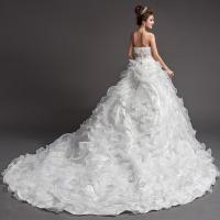 Buy cheap Small Strapless White Ruched Wedding Dresses Long Chapel Train Sleeveless Wedding Dresses from wholesalers
