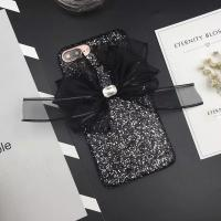 Buy cheap Korea Style Glitter Back Cover Big Black Yarn Bow Pasted Cell Phone Case For iPhone 7 6s Plus from wholesalers