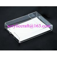 Buy cheap Lucite Tabletop Organizer Acrylic Notepad Holder Clear Plexiglass Memo Pad Holder from wholesalers