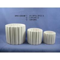 Buy cheap White Cylinder Shaped Indoor Ceramic Plant Pots With Marble Or Ice Effect from wholesalers