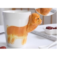 Buy cheap 450ml Golden Retriever Cylinder Shape 3D Ceramic Mugs product