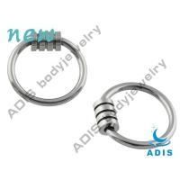 Buy cheap Customized BCR Steel Stripes Neon Titanium Ball Closure Ring For Wedding from wholesalers