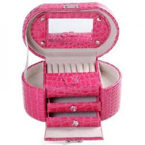 Buy cheap 3-tier jewelry box jewelry storage box rose red crocodile pattern product