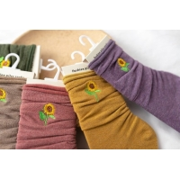 Buy cheap Wholesale Autumn And Winter New Solid Color Sunflower Embroidery Pile Socks In Tube Socks Casual All-Match from wholesalers