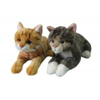 Buy cheap 6''lying plush stuffed kittens/ cats with hand spray patterns brown & grey colors from wholesalers