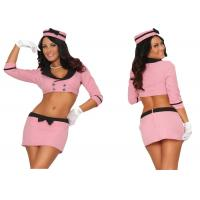 Buy cheap Pink Double Breasted Holiday Party Adult Costumes With Hat Top Skirt Gloves from wholesalers
