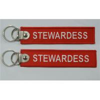 Buy cheap Stewardess Fabric Embroidered keychains Aviation Gift Metal Clip Key Tag from wholesalers