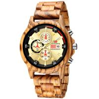 Buy cheap Man Zebra Wooden Quartz Watch Chronograph Stopwatch Calendar 1010-1 from wholesalers