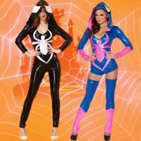 Buy cheap Spider Women Costume Black Zentai Suit Sexy Costumes Women Halloween 2016 Girl Hoodie Venom Spiderman Jumpsuit from wholesalers