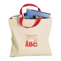 Buy cheap reusable white canvas carrier bag with red handle welcome custom logo printing from wholesalers