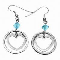 Buy cheap Fashionable Drop Earrings with Zircons, Made of Titanium and 316L Steel Materials product