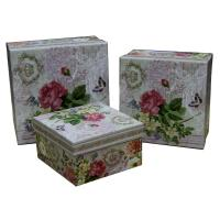 Buy cheap Square Keepsake Gift Boxes Bottom Paper Cardboard Flower Pattern from wholesalers