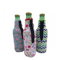 Buy cheap Sublimation Printing Neoprene Single Beer Bottle Cooler with zipper for Promotion Gift size is 19cm*6.3cm, SBR material. from wholesalers