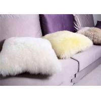 Buy cheap Long Wool Black Fur Throw Pillows , Fulffy Hair Medical Sheepskin Chair Pad No Filling from wholesalers