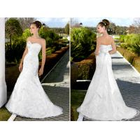 Buy cheap Deep V Neck Lace white bridal Wedding Dresses with long trains , ribbon from wholesalers
