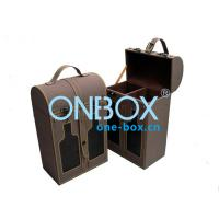 China Gift PU leather wine box carrier , double bottle retail pcakaging box with handle on sale