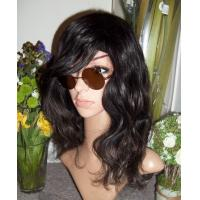 Buy cheap Top Quality Cool Natural Black Hairstyle Wavy Synthetic Hair Wig With Swept Bang from wholesalers