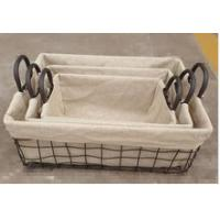 Buy cheap Rectangle nesting wire mesh laundry basket with cover or lining, set 3 from wholesalers