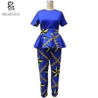 Buy cheap Ankara Fabric African Print Pants With Kitenge Style Short Sleeve Tops from wholesalers