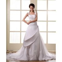 Buy cheap Customized Unique Women Flower lace wedding dress with open back from wholesalers