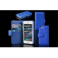 Buy cheap Durable Blue Genuine Leather Cell Phone Case Wallet Style iPhone 5 / 5S Cover from wholesalers