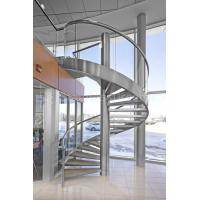 Quality 304 Stainless Steel Spiral Staircase with Glass Railing for Outdoor for sale