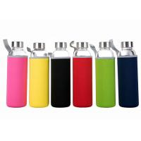 Buy cheap 16 Oz Fancy Unbreakable Glass Water Bottle With Stainless Steel Cap from wholesalers