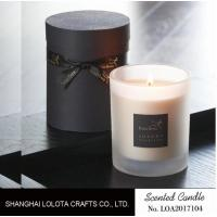 Buy cheap Frosted Bottle Home Scented Candles Customized Logo With Black Ribbon Round Box from wholesalers