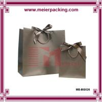 Buy cheap Matte printing black paper gift bag, cotton and ribbon handle carrier paper bags ME-BG026 from wholesalers