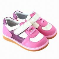 Buy cheap Children's casual/squeaky/soft sole leather shoes, elastic ankle design, eco-friendly from wholesalers