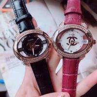 Buy cheap Chanel Watch colorful leather belt with diamond hollow out dial dress replica wrist watch jewelry braceket from wholesalers
