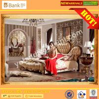 Buy cheap (BK0109-0003)BISINI Brand New Gold Wooden Bed , Royal and Luxury Bedroom Furniture Set, King Size Bed with Nightstand from wholesalers