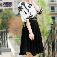 Buy cheap Fashion set contrast floral embroidery blouse skirt old ladies clothing 2018 fashion women long chiffon dress sale from wholesalers