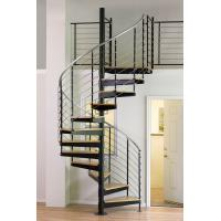 Buy cheap Interior duplex wooden spiral staircase with inox steel rod railing design product
