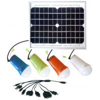 Buy cheap Solar power lighting kits  10W solar panel with 4pcs LED bulbs lithium battery solar lamps for home from wholesalers