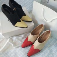 Buy cheap Fashionable lady ankle boots 2 colors patchwork boots casual dress shoes with zip thin and high heel leather boots from wholesalers