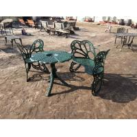 Buy cheap Outside Wrought Iron Table And Chairs Antique Green Butterfly Style from wholesalers